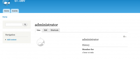 adminユーザのProfile